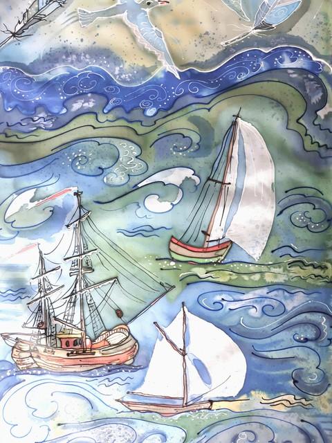 """Šilko šalikėlis """"Vėtrų šėlsmas ir svajonių laivai"""""""